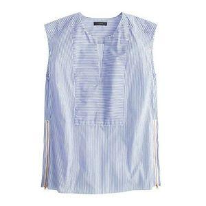 <j.crew> sleeveless stripe side zip blouse